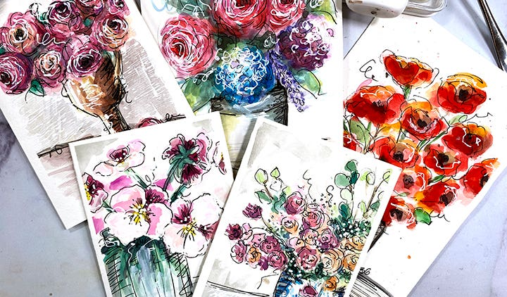 February Winter Watercolor Examples