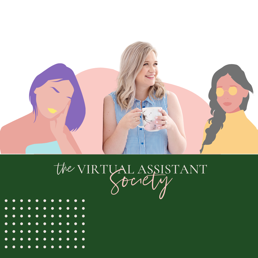 Image of Alethea (blonde woman) with the words the Virtual Assistant Society