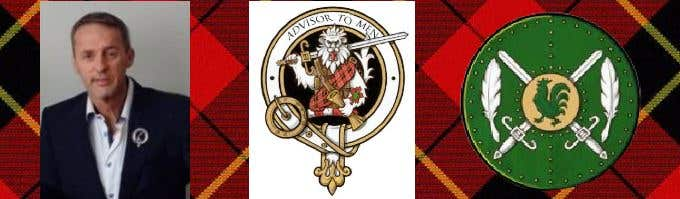Heraldic Shield with crossed claymore swords behind a rooster vert with a gold background flanked each side by quill pens, The background is Wallace tartan over which in black the words, advisor to men