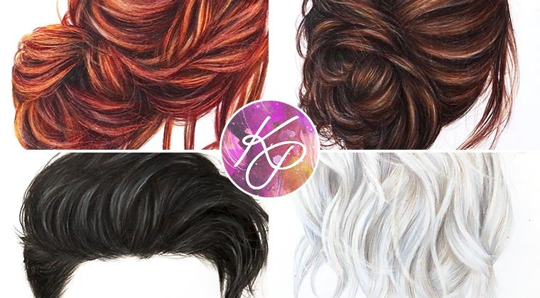 Realistic Hair in Coloured Pencil