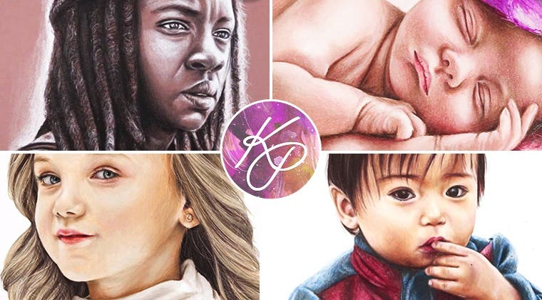 Realistic Portraits in Coloured Pencil